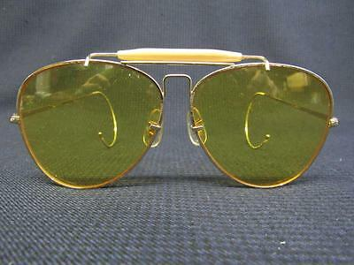 Vintage Bushnell Yellow Aviator Pilot Shooting Glasses W/case