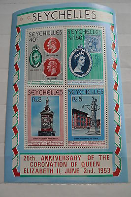 Seychelles 25 Years Coronation Queen  Mnh With Stamp On Stamp