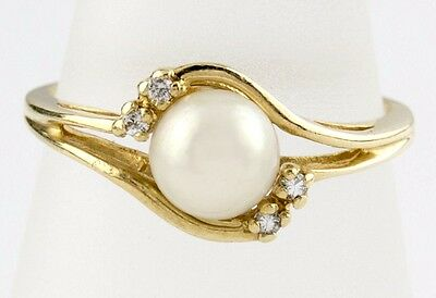 Women's 6 mm Akoya Pearl & Diamond Solitaire with Accents Ring 14k Solid Gold