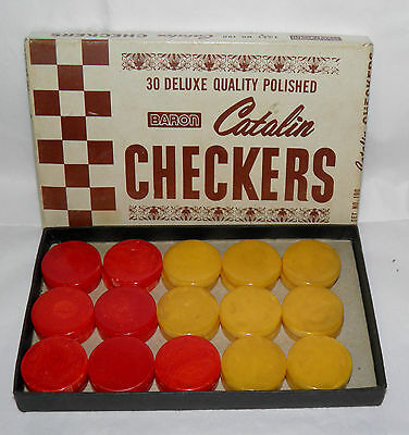 1930s BARON 30 Swirled CATALIN Checkers BACKGAMMON CHIPS Red & Butterscotch MIB