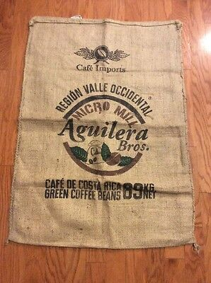 "Huge 40""x28"" Aguilera Bros. Costa Rica Burlap Jute Cafe Coffee Burlap Sack Bag"
