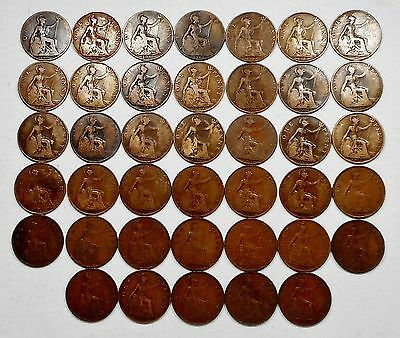 Lot Of 40 UK(Great Britain) One Penny Bronze Coins - 1906, 1907, 1911, Etc.