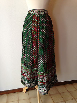 """Vintage Women's Sheer Cotton Wrap Skirt India Deep Greens & Red Waist 26"""" to 28"""""""