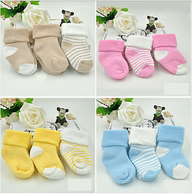 3 PairsNon-slip Cotton Girl Boy Kid Newborn Baby Socks Booty Booties Bootee SLG