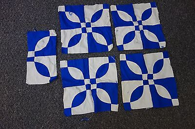 1930's Quilt Blocks-7 pcs- Hole in Barn Door & Flower -Red,Royal Blue,Cream-SALE