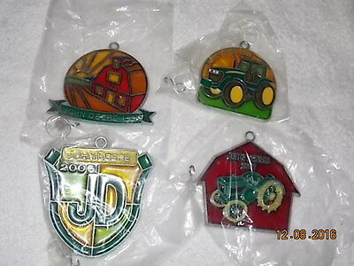 Lot of Four (4) NOS John Deere SUN CATCHERS Christmas Ornaments Dated