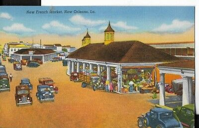 new french market,new orleans,louisiana postcard early 1940s era