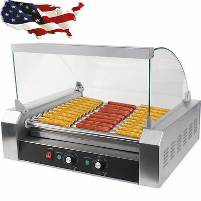 Commercial 11 Roller and 30 Hotdog Grill Cooker Warmer Hot Dog Machine