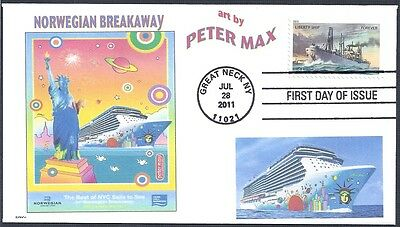 PETER MAX  NORWEGIAN CRUISE SHIP  BREAKAWAY   LIMITED #  FDC- DWc CACHET