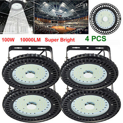 4X 100W UFO LED High Bay Light Industrial Factory Warehouse Roof Shed Lighting