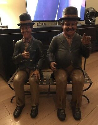 Vintage Laurel And Hardy Figures Sitting On Cast Iron Bench