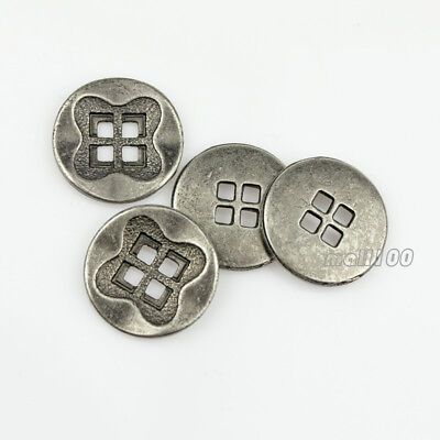 12pcs Metal 4Holes Round Silver Bronze Sewing Coat Suit Buttons 13 15 18 21 28mm