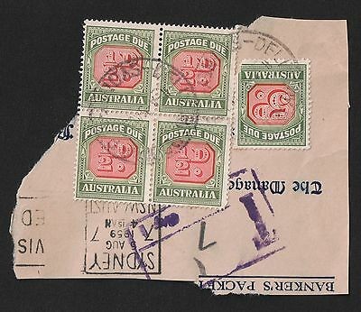 AUSTRALIA 1/2d POSTAGE DUE BLOCK OF 4 + 5d USED