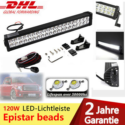 "22"" 120W LED Light Bar Scheinwerfer Offroad Lichtleiste Arbeitslampe+Kabel kit"