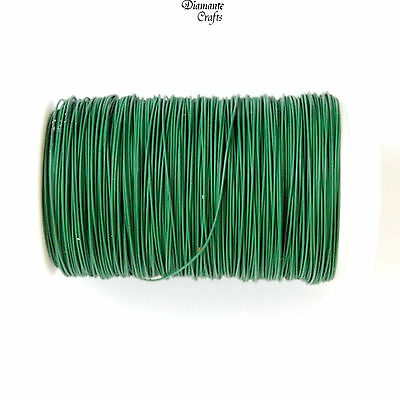 Green Wire Reel - Florist Lacquered Rose Craft Wire on 45m Roll 26g 28g 30g 32g