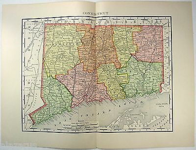 Original 1895 Map of Connecticut by Rand McNally