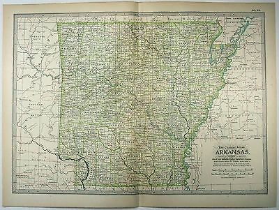 Original 1902 Map of Arkansas - A Finely Detailed Color Lithograph