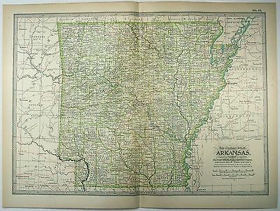 Original 1902 Map of Arkansas by The Century Company