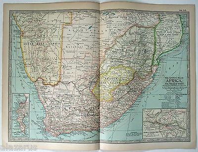 Original 1897 Map of Southern Africa by The Century Company
