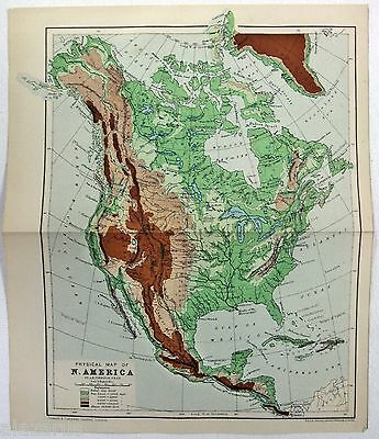 Rare Original Physical Map of North America c1900 by W. & A. K. Johnston
