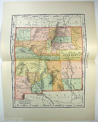 Original 1895 Map of New Mexico by Rand McNally