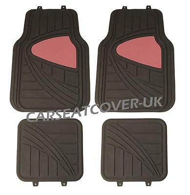 Peugeot 206 - Black/Red HEAVY DUTY All WEATHER Front Rear RUBBER CAR Floor MATS