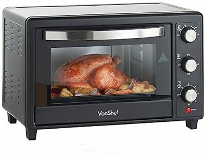 VonShef 30L Black Mini Oven and Grill 1600W With Baking Tray and Wire Rack