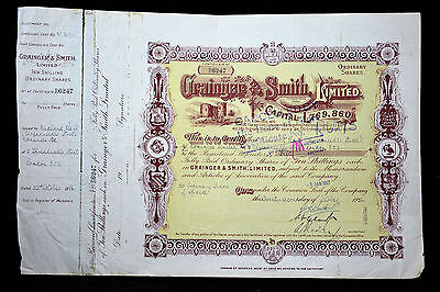 Grainger & Smith Limited share certificate - Dudley - ordinary shares - 1956
