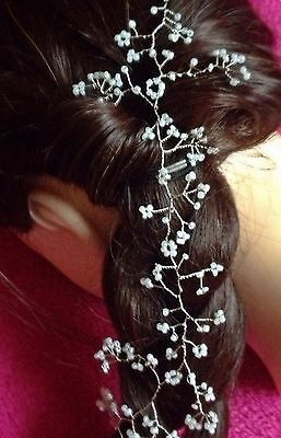 "Wedding 10"" Hair Vine Pearls Silver Tiara headband crown bridal bridesmaids"