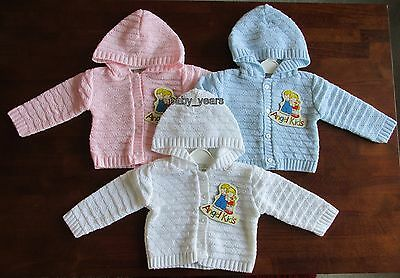 Baby Hooded Knitted Cardigan Boys Girls White Pink Blue 0-3 3-6 6-9 Months New