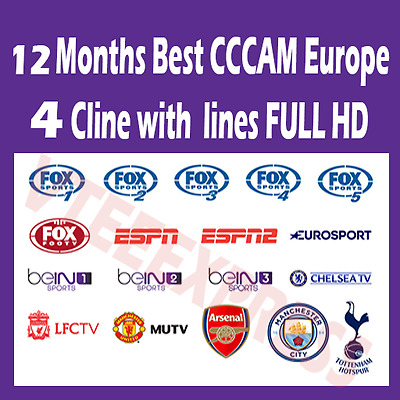 12 months Best CCCAM Europe Cline with 4 lines | FULL HD