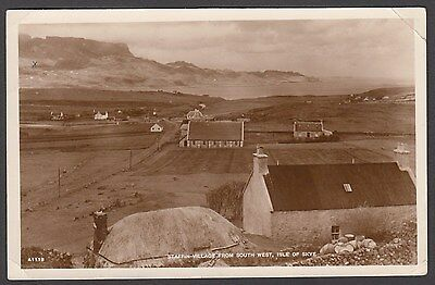 Postcard Isle of Skye Scotland view of Staffin Village from South West 1943 RP