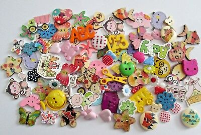 100 Assorted Mixed Novelty Buttons Wood And Resin Mixed Styles