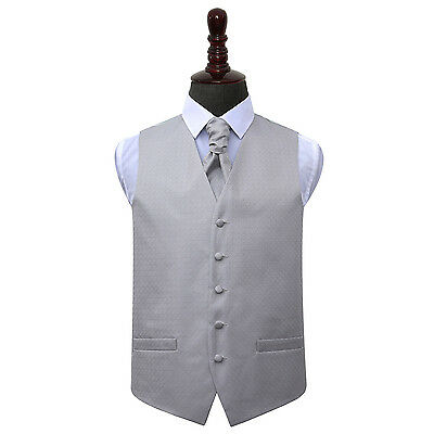DQT Greek Key Patterned Silver Mens Wedding Waistcoat & Cravat Free Pin