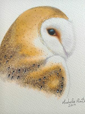 Original signed watercolour painting of a barn owl. This is not a print.