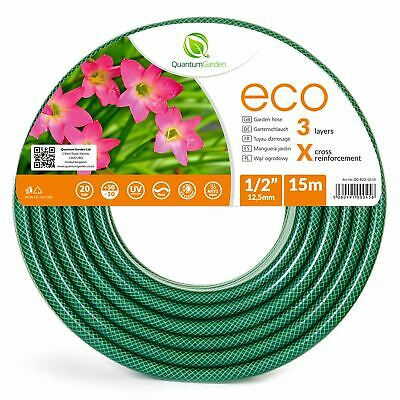 """1/2"""" 15M Reinforced Garden Hose Pipe For Plants Watering Outdoor - Eco"""