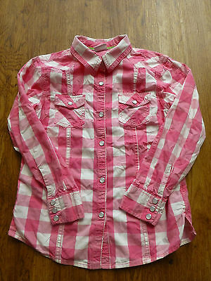 Little Girls Pink And White Checked Cowboy Shirt From Next Age 9 Years
