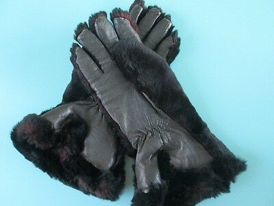 1940's black leather and fur gloves