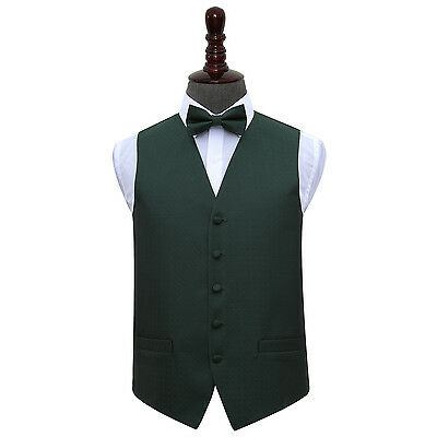 DQT Woven Greek Key Patterned Dark Green Mens Wedding Waistcoat Bow Tie Set