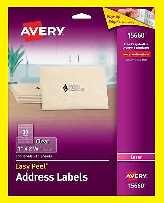 """Avery 15660 Clear Address Labels 1"""" x 2-5/8"""" Easy Peel 300 Labels /10 Sheets New"""