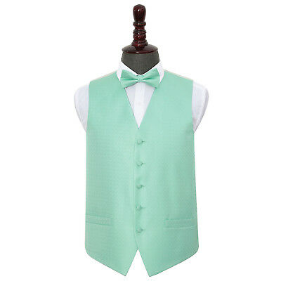 New Dqt Greek Key  Mens Wedding Waistcoat & Bow Tie Set - Mint Green