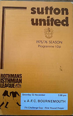 1975 Sutton United v AFC Bournemouth FA Cup 1st Round