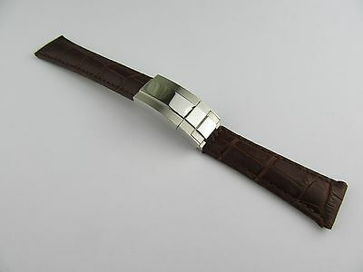 20Mm Brown Genuine Leather Strap For Rolex Daytona Stainless Steel Clasp Large