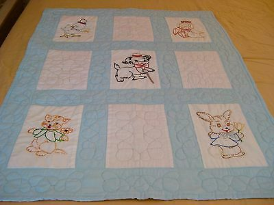 Vintage Hand Embroidered Hand Quilted Baby Quilt Wall Hanging
