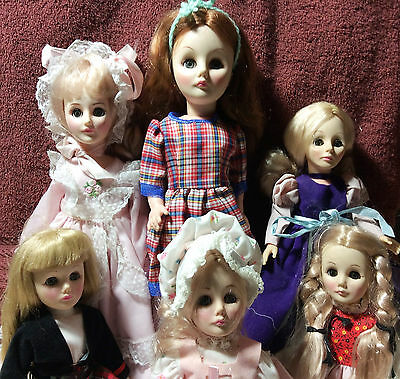 Vintage Lot of 6 Pretty Effanbee Dolls - All Marked on Back 11-14""