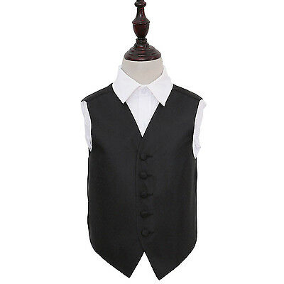 DQT Woven Greek Key Patterned Black Boys Wedding Waistcoat 2-14 Years