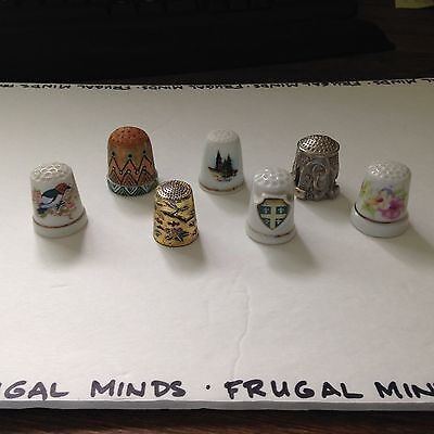 Lot of 7 Keepsake Thimbles Collection Evolution Of Materials