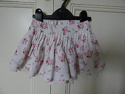 Early Days Girls White Cord Skirt With Pink Flowers And Lace  Hem 0-3 M