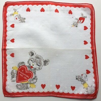 Vintage Valentines Childrens Hankie-Teddy Bear, A Valentine For You