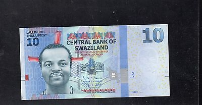 SWAZILAND  10 Emalangeni Banknote - 7.1.2014 - Central Bank